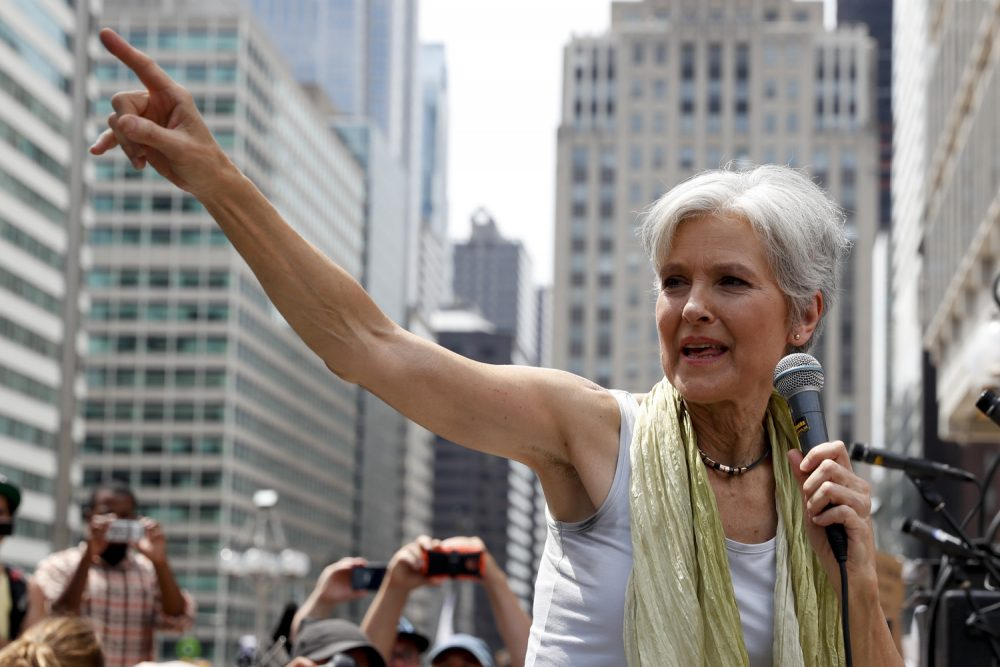 Dr. Jill Stein, Green Party presidential nominee, speaks at a rally in Philadelphia on Tuesday, July 26, 2016, during the second day of the Democratic National Convention. (John Minchillo/AP)