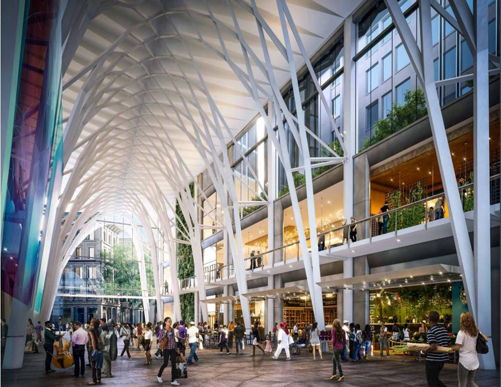 """An artist's rendering of the so-called """"Great Hall,"""" the 65-foot-high """"centerpiece"""" of the Millennium Partners proposal (Courtesy of the developer)"""