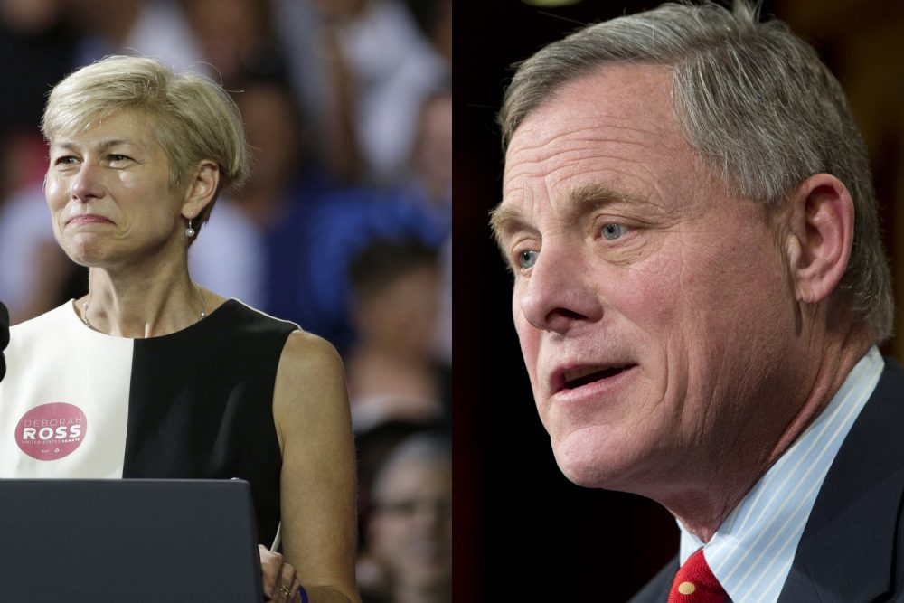 Former N.C. State Rep. Deborah Ross (Left) is challenging U.S. Sen. Richard Burr (R-NC) in the November race for control of the Tar Heel State's Senate seat (Chuck Burton and Jacquelyn Martin/AP)