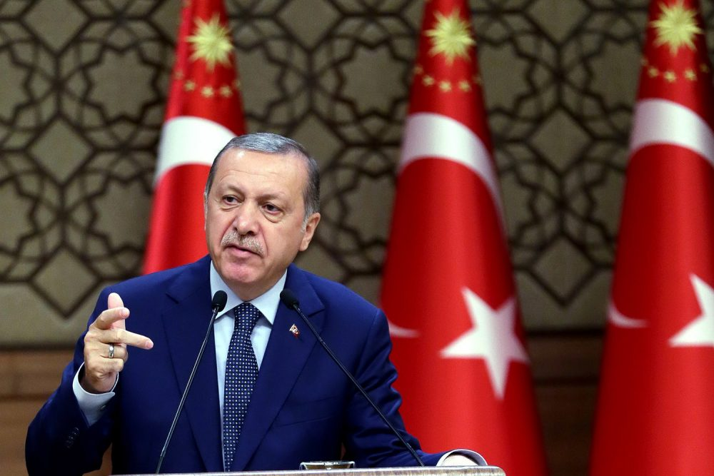 Turkey's President Recep Tayyip Erdogan speeches to the heads of chambers of commerce in Ankara, Turkey. (Kayhan Ozer/AP)