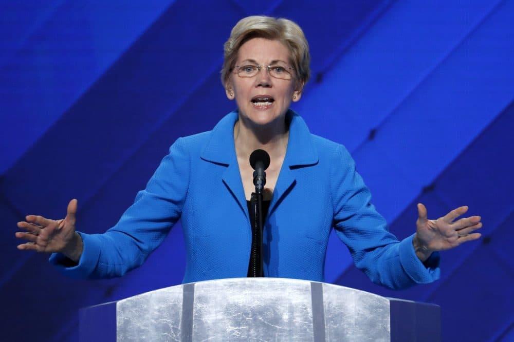 Sen. Elizabeth Warren speaks during the final day of the Democratic National Convention in Philadelphia. (Scott Applewhite/AP)