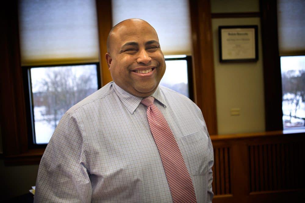 Lawrence Mayor Daniel Rivera in his City Hall office. (Jesse Costa/WBUR)