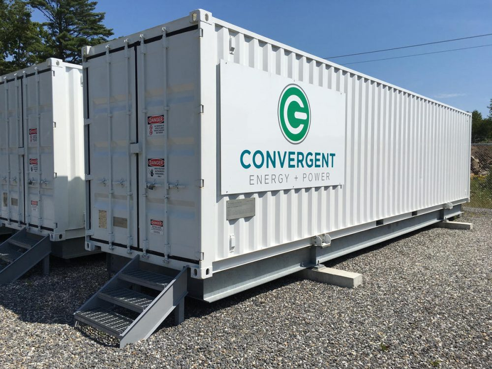 These grid-scale batteries store up to 500 kilowatts of electricity in Boothbay. (Fred Bever/MPBN)