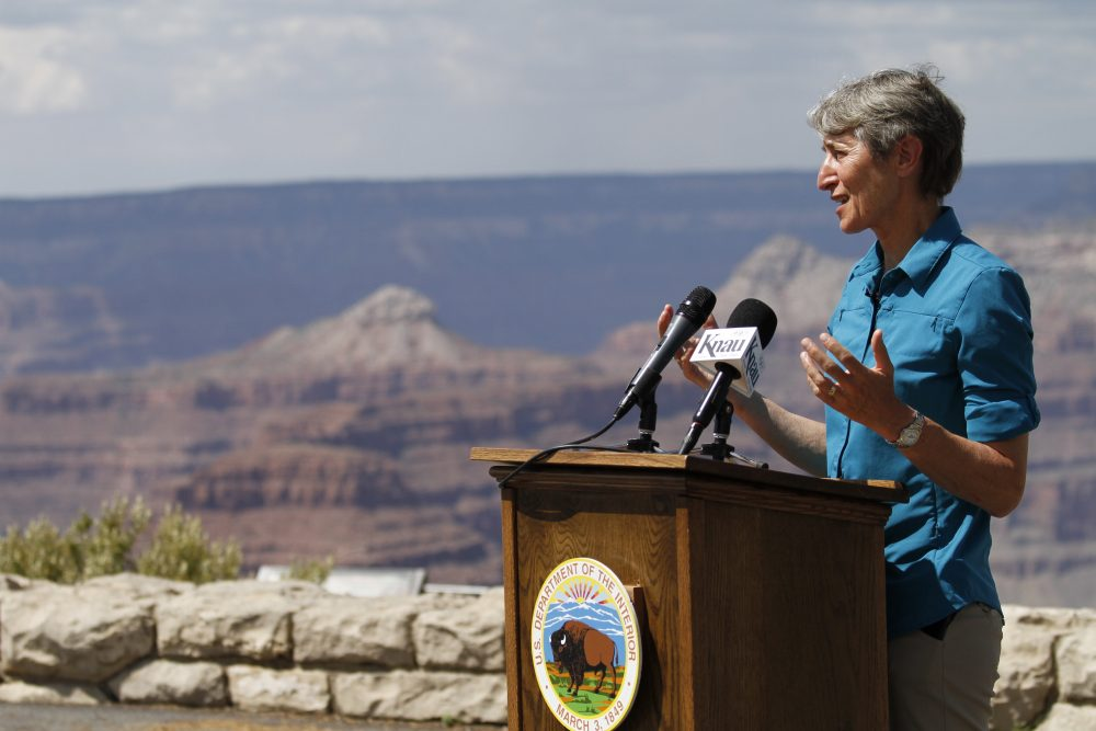 U.S. Interior Secretary Sally Jewell speaks to reporters during a news conference at Grand Canyon National Park in Ariz., on July 26, 2016. (Beatriz Costa-Lima/AP)