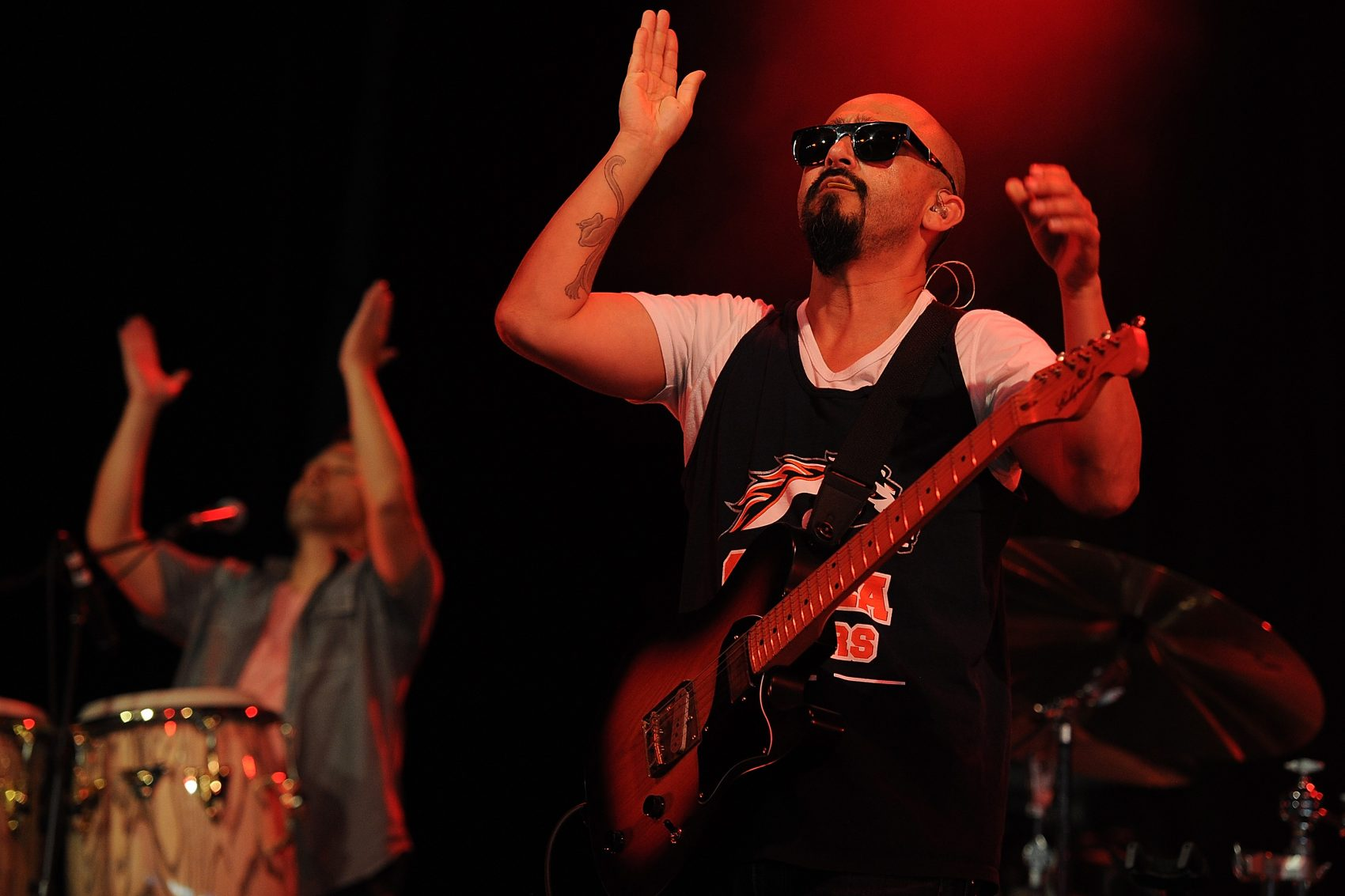 Raul Pacheco of Ozomatli performs live at the 2014 Byron Bay Bluesfest on April 21, 2014 in Byron Bay, Australia. (Matt Roberts/Getty Images)