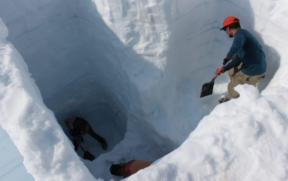 Students dig a mass balance pit on the Juneau Icefield. (Elizabeth Jenkins/KTOO)