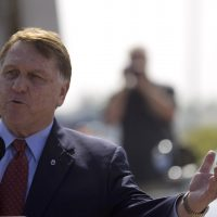Teamsters union president James Hoffa speaks during a rally against the cross-border trucking program Wednesday, Oct. 19, 2011, in San Diego. (Gregory Bull/AP)