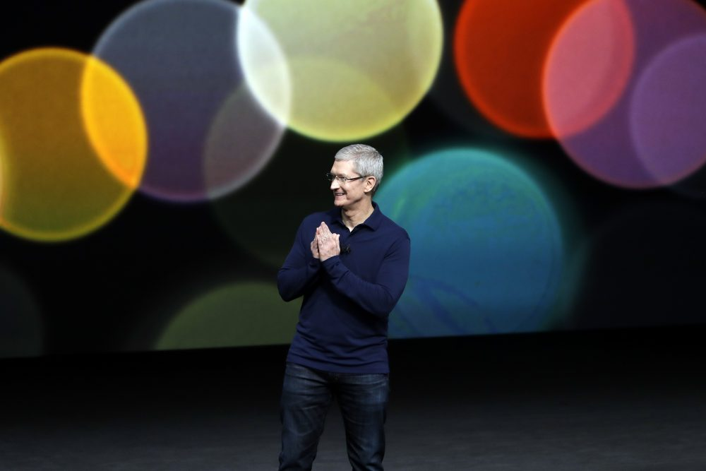 Apple CEO Tim Cook speaks during an event to announce new products on Wednesday, Sept. 7, 2016, in San Francisco. (Marcio Jose Sanchez/AP)
