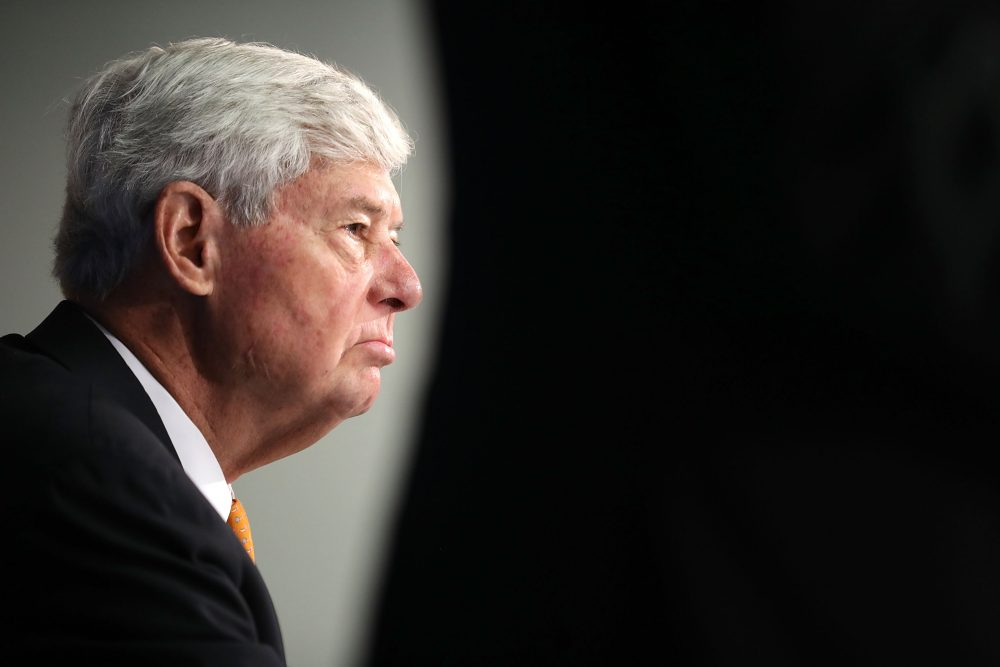 Former U.S. Sen. Bob Graham (D-FL) talks to reporters about a recently released section of the 2002 House Intelligence Committee inquiry into the attacks of Sept. 11, 2001 during a news conference at the National Press Club on Aug. 31, 2016 in Washington D.C. (Chip Somodevilla/Getty Images)