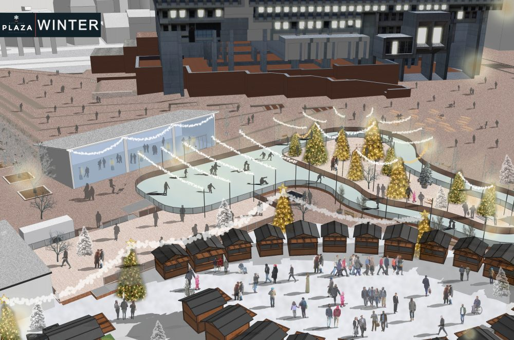 The city of Boston wants to make City Hall Plaza a cool place to hang out. This rendering shows winter activities planned for the public space. (Courtesy of Boston Garden Development Corporation)