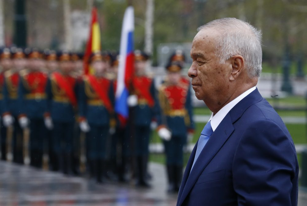Uzbek President Islam Karimov takes part in a wreath-laying ceremony at the Tomb of the Unknown Soldier by the Kremlin Wall in Moscow, on April 26, 2016. (Sergei Karpukhin/AFP/Getty Images)