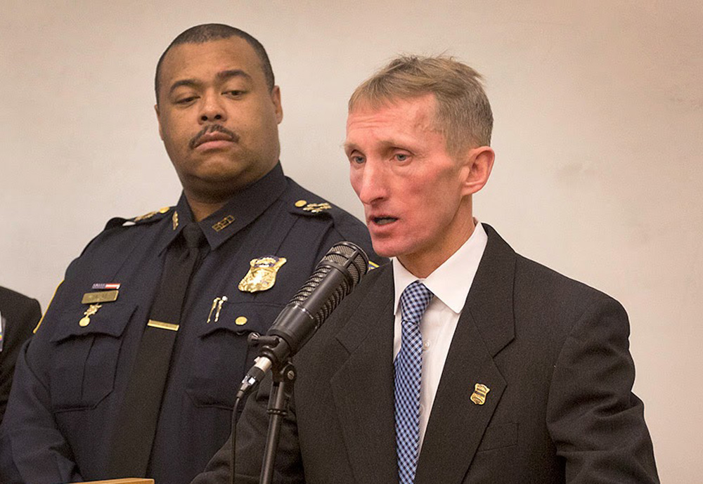 Boston Police Commissioner William Evans, right, in January 2015, with Superintendent-in-Chief William Gross (Robin Lubbock/WBUR)