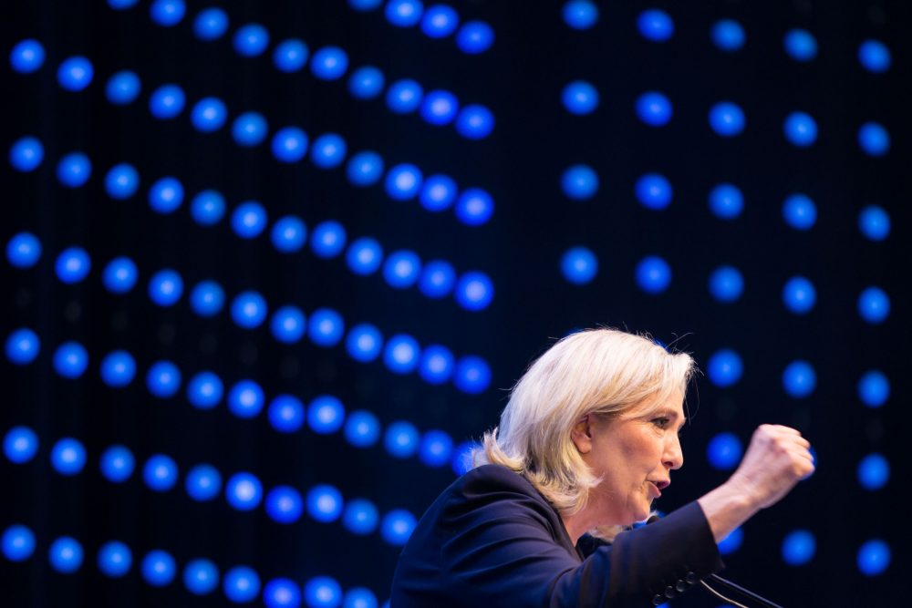 French far-right National Front head Marine Le Pen delivers a speech at a meeting of the EU's far-right Europe for Nations and Freedom bloc on June 17, 2016. (Vladimir Simicek/AFP/Getty Images)