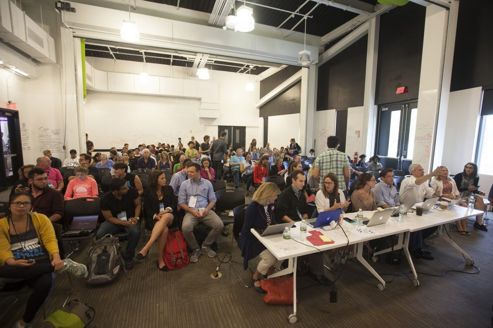 MGH and the GE Foundation recently hosted a hackathon at District Hall in Boston's Seaport District. The goal was to come up with novel ideas and technologies to combat the opioid addiction crisis. (Joe Difazio for WBUR)