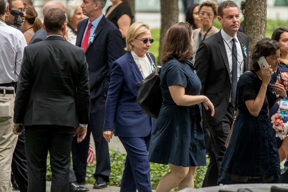 Democratic presidential candidate Hillary Clinton arrives to attend a ceremony at the National September 11 Memorial, in New York, Sunday, Sept. 11, 2016, on the 15th anniversary of the September 11th attacks. (Andrew Harnik/AP)