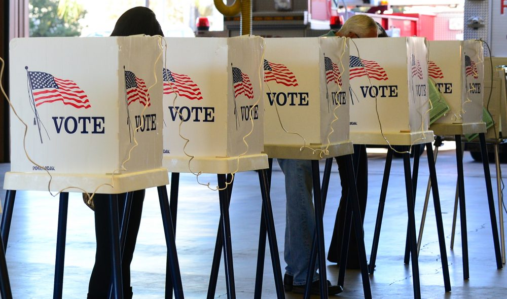 Citizens vote on Election Day at Fire Station #71 in Alhambra, Los Angeles County on Nov. 6, 2012. (Frederic J. Brown/AFP/Getty Images)