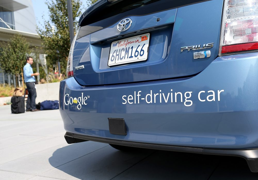 A Google self-driving car is displayed at the Google headquarters on Sept. 25, 2012. (Justin Sullivan/Getty Images)