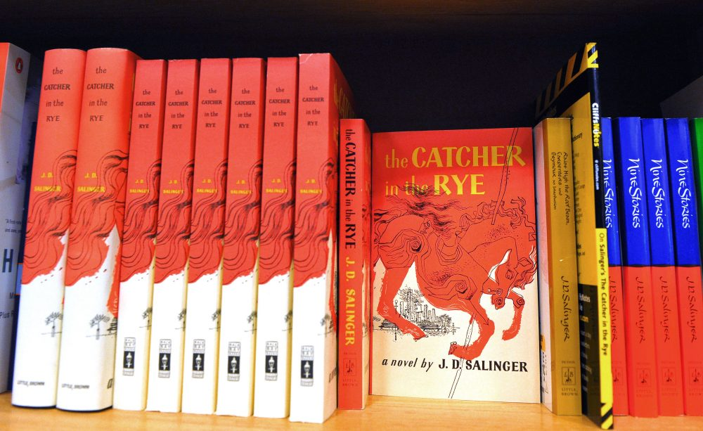 "A January 28, 2010 photo shows copies of ""The Catcher in the Rye"" by author J.D. Salinger at a bookstore in Washington, D.C. (Mandel Ngan/AFP/Getty Images)"