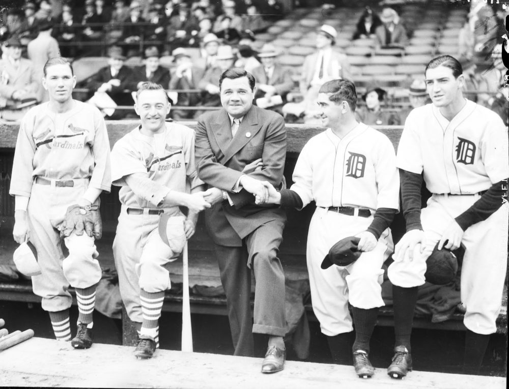 At the 1934 World Series, from left to right: Cardinals pitcher Dizzy Dean and manager Frank Frisch, Babe Ruth, Tigers manager Mickey Cochrane and pitcher Schoolboy Rowe. (Courtesy of Walter Reuther Library)