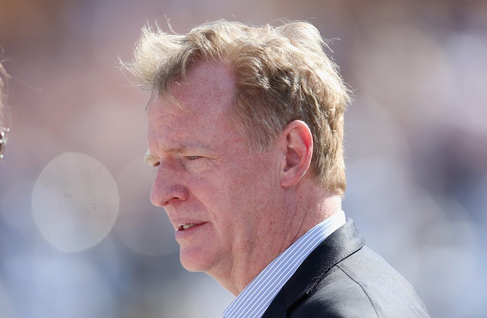 "On Wednesday, NFL Commissioner Roger Goodell announced the league will pledge another $100 million for ""independent medical research and engineering advancements"" to make football safer. (Stephen Dunn/Getty Images)"