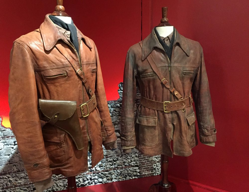"Two of the leather bomber jackets made for Daniel Craig to wear in ""Defiance"" by costumer Jenny Beavan. She won an Academy Award last year for ""Mad Max: Fury Road."" (Erin Trahan for WBUR)"
