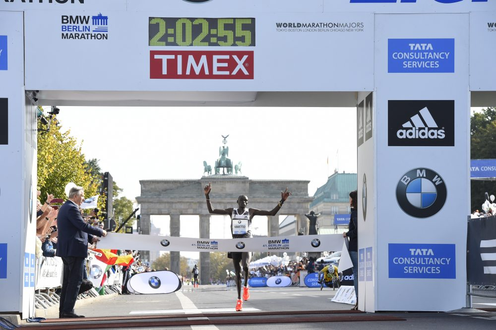 Kenya's Dennis Kimetto crosses the finish line to win the 41th edition of the Berlin Marathon in Berlin on Sept. 28, 2014. Kimetto broke the world marathon record. (Tobias Schwarz/AFP/Getty Images)