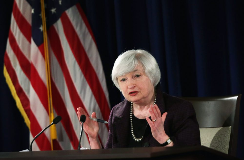 Federal Reserve Board Chairwoman Janet Yellen speaks during a news conference Dec. 17, 2014 at the headquarters of Federal Reserve Board of Governors in Washington, D.C. (Alex Wong/Getty Images)