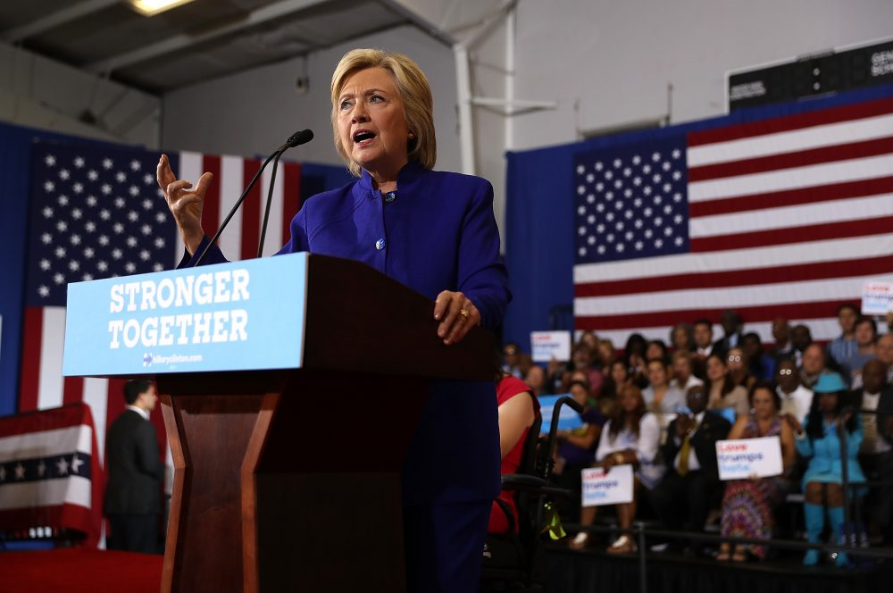 Democratic presidential nominee Hillary Clinton speaks during a campaign event at Frontline Outreach and Youth Center on Sept. 21, 2016, in Orlando, Fla. (Justin Sullivan/Getty Images)