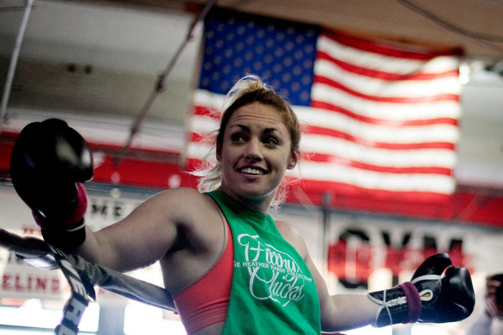 """No freedom 'til we're equal. My fight on August 21st was the first female fight televised on a PBC show, which is a long list of things that I've been the first female to do -- which is kind of sad in 2016,"" Heather Hardy told Karen Given last year. (Cliff Hawkins/Getty Images)"