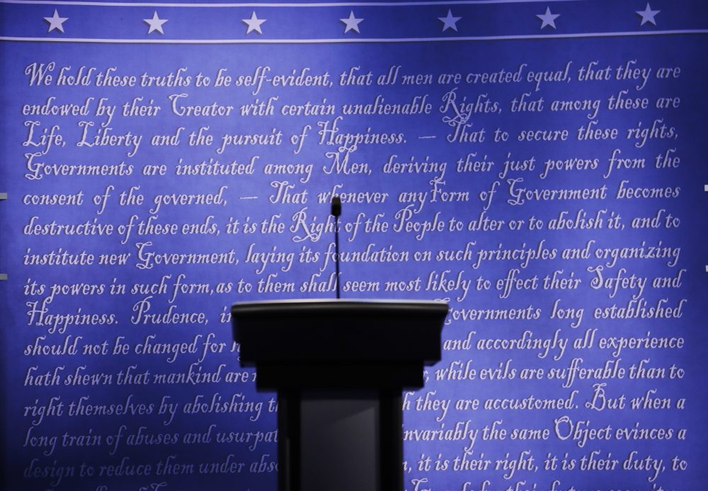The stage is set for the presidential debate Monday between Democratic presidential candidate Hillary Clinton and Republican presidential candidate Donald Trump at Hofstra University in Hempstead, N.Y. (Patrick Semansky/AP)