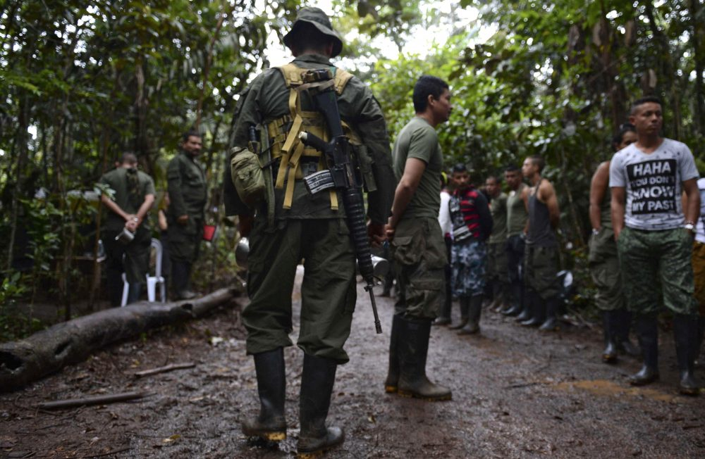 Revolutionary Armed Forces of Colombia (FARC) guerrillas at their camp in El Diamante, Caqueta department, Colombia on Sept. 25, 2016. (Raul Arboleda/AFP/Getty Images)