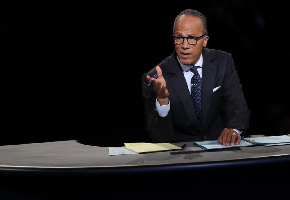 Debate moderator Lester Holt talks during the first presidential debate at Hofstra University in Hempstead, N.Y., on Sept. 26, 2016. (Joe Raedle/AFP/Getty Images)
