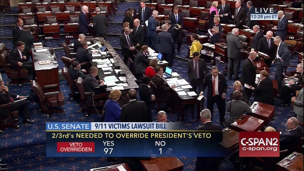 This frame grab from video provided by C-SPAN2, shows the floor of the Senate on Capitol Hill in Washington, Wednesday, Sept. 28, 2016, as the Senate acted decisively to override President Barack Obama's veto of Sept. 11 legislation. (C-SPAN2 via AP)