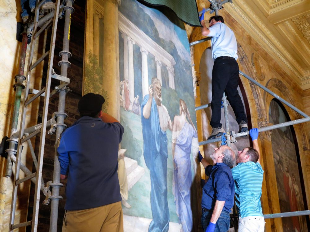 The mural is now back in its place in the Boston Public Library. (Andrea Shea/WBUR)