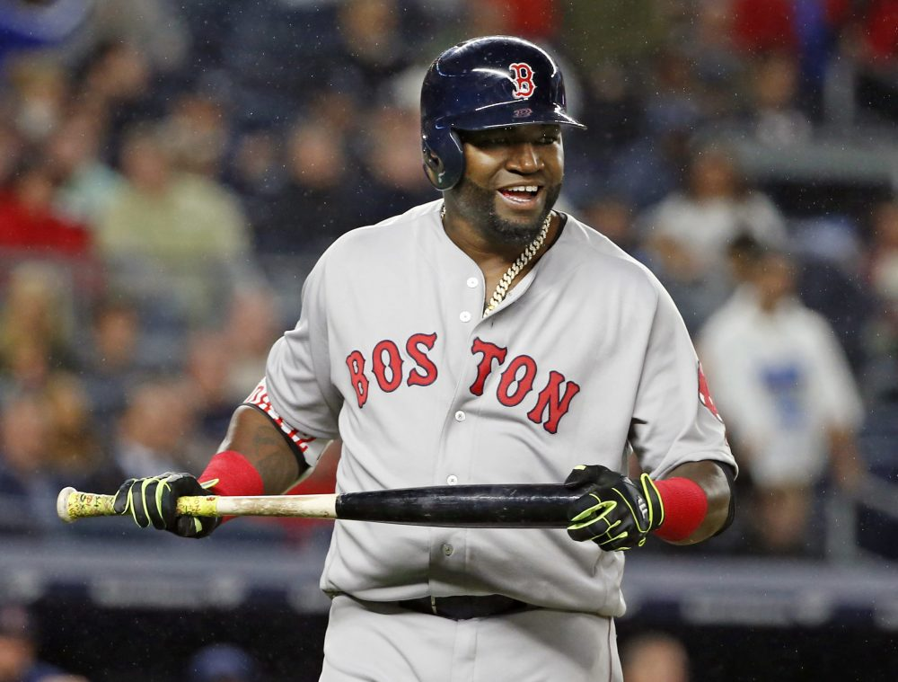 Boston Red Sox designated hitter David Ortiz reacts after flying out to deep center field in the sixth inning of a baseball game against the New York Yankees in New York. (Kathy Willens/AP)