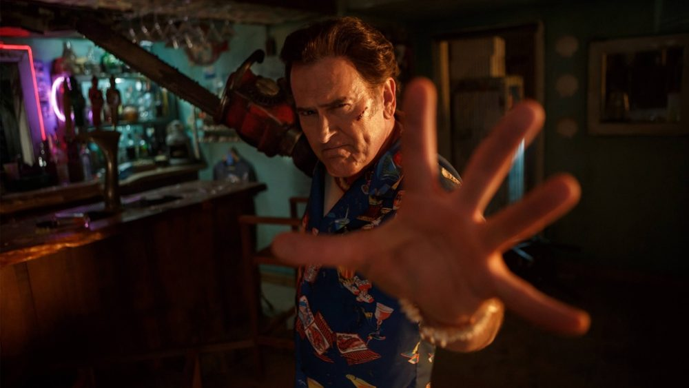 "A still frame from the Starz series ""Ash vs. Evil Dead,"" which is returning for season two. Bruce Campbell plays Ash Williams (pictured), a comical-yet-flawed character who returns to his hometown to fight evil. (Courtesy Starz)"
