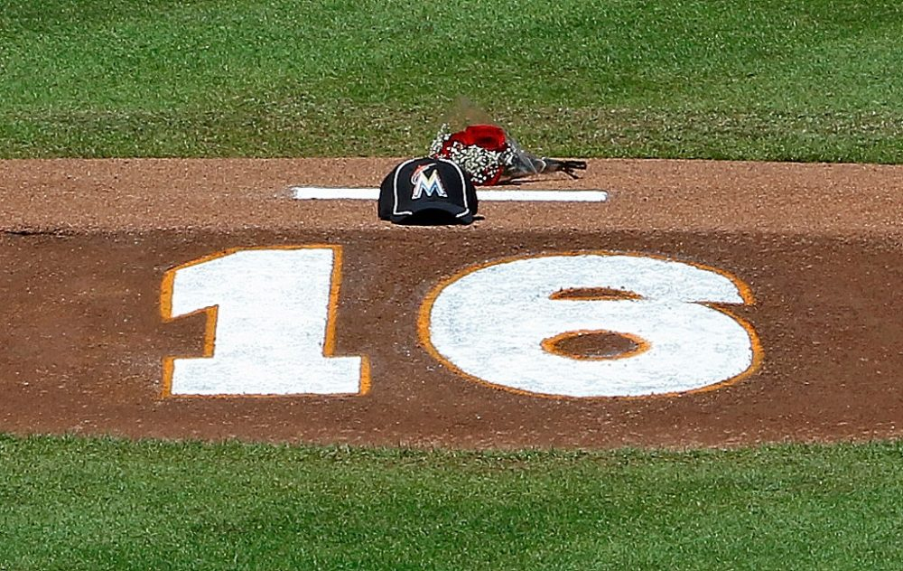 The pitching mound in Miami after the death of pitcher Jose Fernandez. (Joe Skipper/Getty Images)