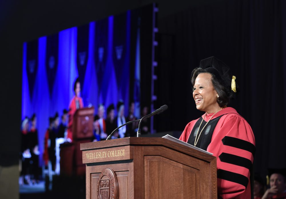 Dr. Paula Johnson speaking Friday at her inauguration as Wellesley College president. (Courtesy Richard Howard/Wellesley College)