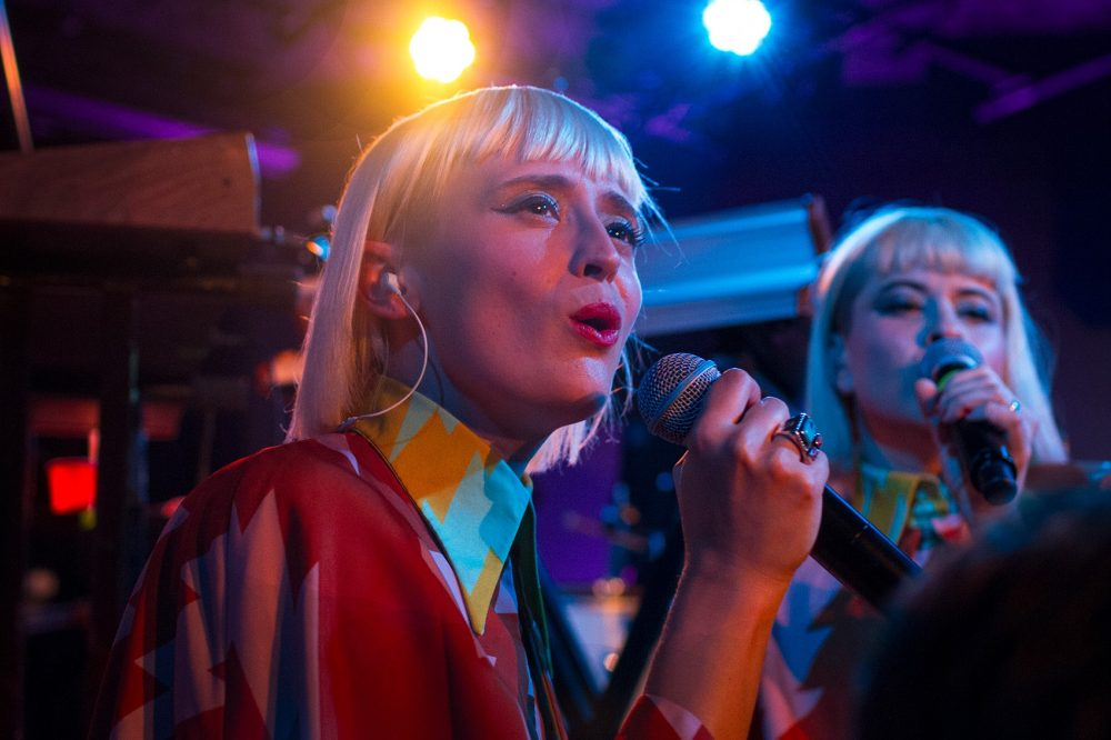 The band Lucius, during a show in Portsmouth, New Hampshire (Hadley Green for WBUR)