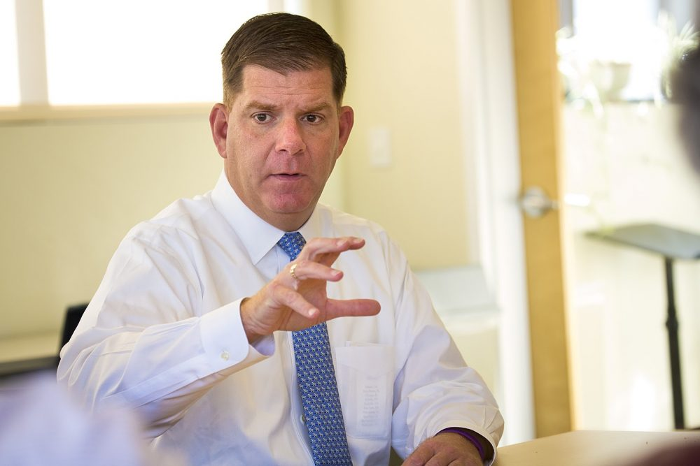 Boston Mayor Marty Walsh speaks at WBUR. (Jesse Costa/WBUR/File)