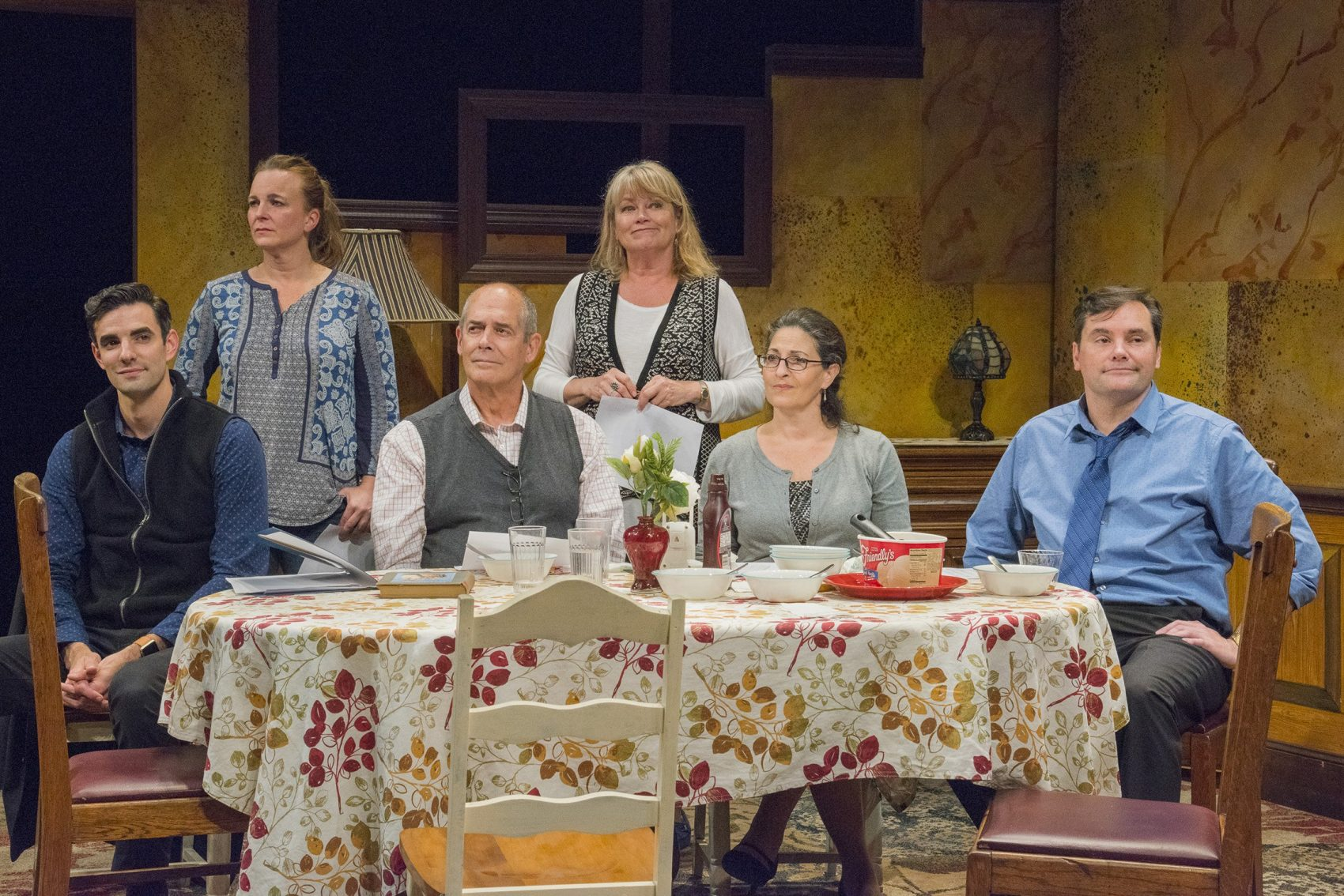 """Left to right: Paul Melendy, Laura Latreille, Joel Colodner, Karen MacDonald, Sarah Newhouse and Bill Mootos in the New Repertory Theatre's production of """"Regular Singing."""" (Courtesy Andrew Brilliant / Brilliant Pictures)"""