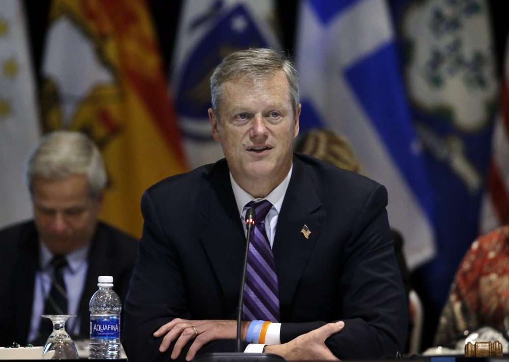 Gov. Charlie Baker speaks during a conference in Boston in August. (Elise Amendola/AP)