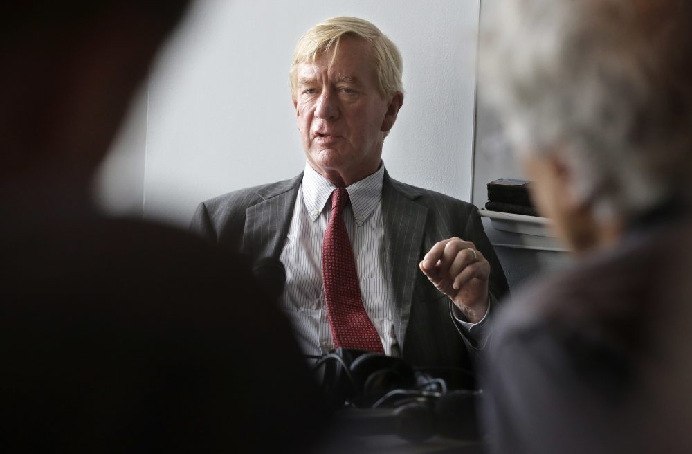 Former Massachusetts Gov. Bill Weld addresses an audience at Emerson College on Thursday, Sept. 8, 2016. (Steven Senne/AP)
