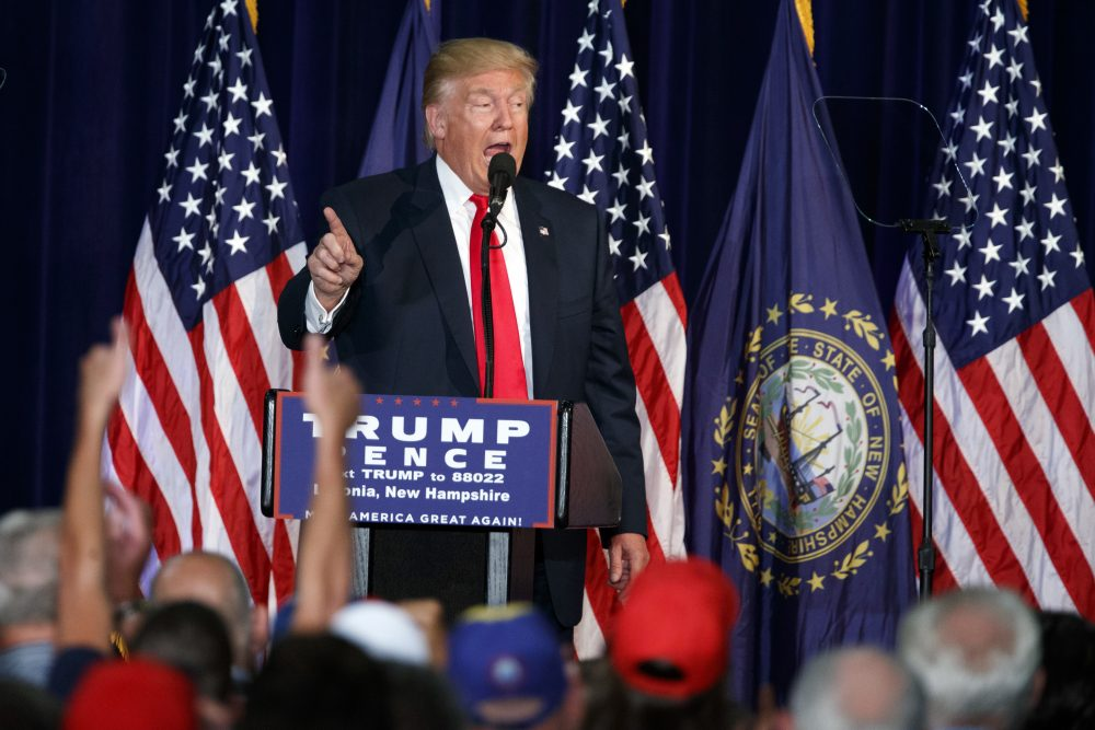 Republican presidential candidate Donald Trump speaks during a campaign rally at Laconia Middle School Thursday in Laconia, N.H. (Evan Vucci/AP)