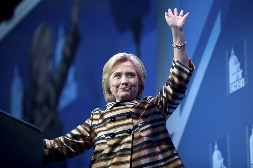 Democratic presidential candidate Hillary Clinton waves after speaking at the Congressional Hispanic Caucus Institute's 39th Annual Gala Dinner on Thursday. Clinton returned to the campaign trail after a bout of pneumonia that sidelined her for three days. (Andrew Harnik)