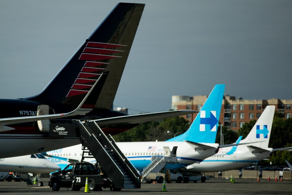 The campaign planes for Hillary Clinton and Donald Trump are parked nearby each other on the tarmac at Washington's Ronald Reagan National Airport on Friday. (Andrew Harnik/AP)