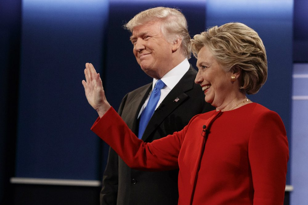 Republican presidential candidate Donald Trump, left, stands with Democratic presidential candidate Hillary Clinton before the first presidential debate at Hofstra University, Monday, Sept. 26, 2016, in Hempstead, N.Y. (Evan Vucci/AP)