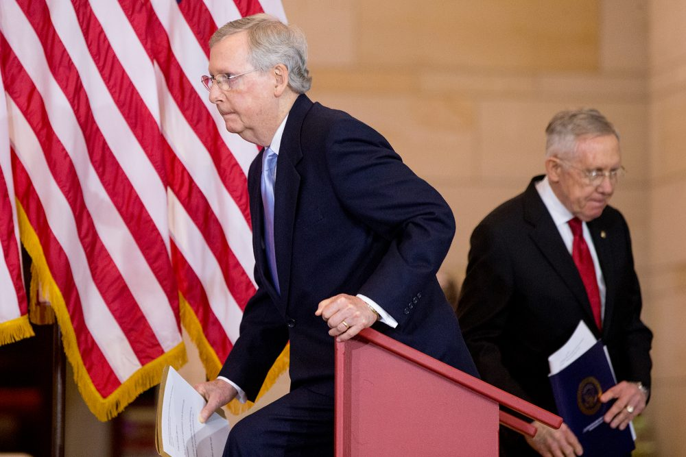 Just 9 percent of respondents in a recent Gallup survey expressed confidence in Congress and 18 percent approve of the job they are doing. Here is Senate Minority Leader Harry Reid, right, and Senate Majority Leader Mitch McConnell on Dec. 9, 2015. (Andrew Harnik/AP)