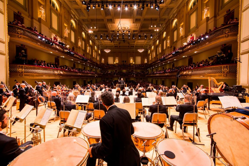 Andris Nelsons and the Boston Symphony Orchestra on stage at Symphony Hall. (Courtesy BSO)