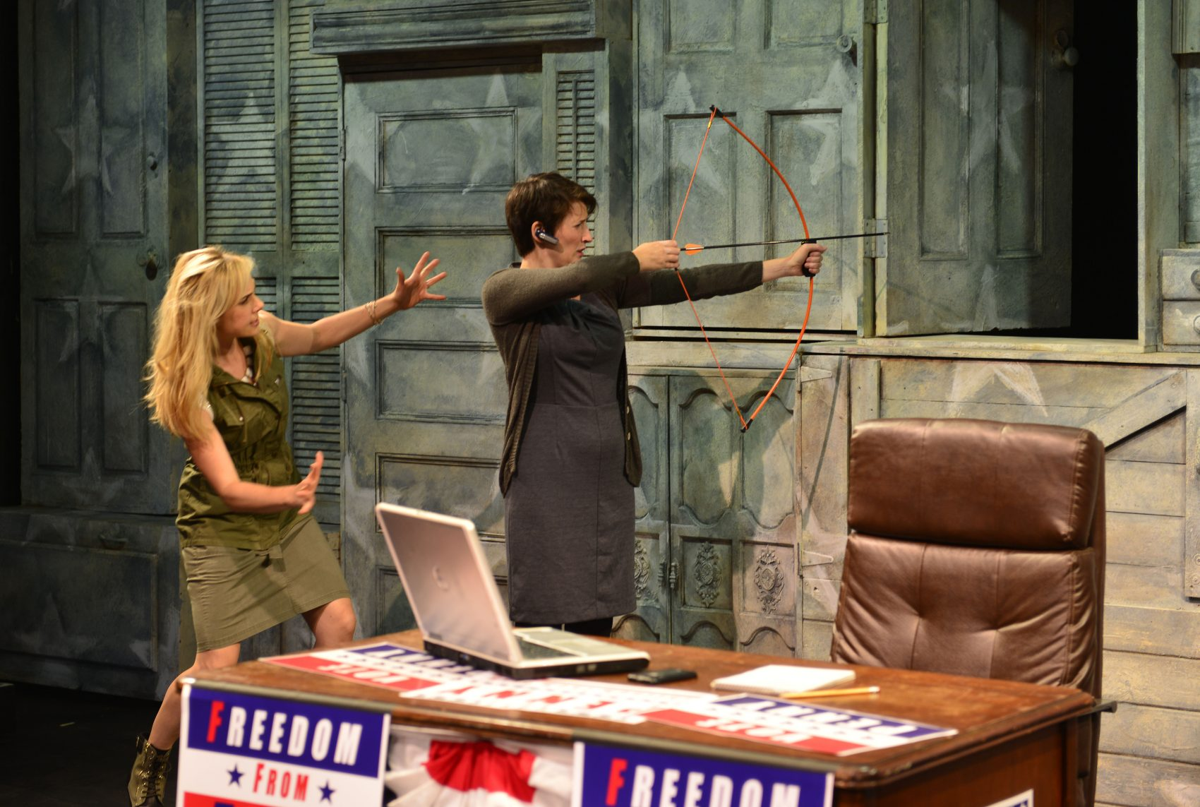 "Breean Julian and Amanda Collins star in ""The Totalitarians"" at the Gloucester Stage Company. (Courtesy of Gary Ng)"